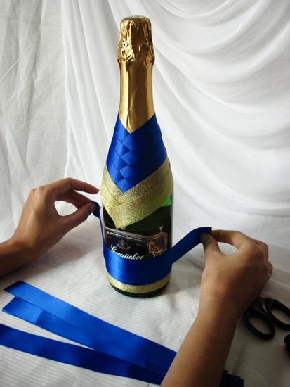 Украшение на свадебное шампанское своими руками лентами