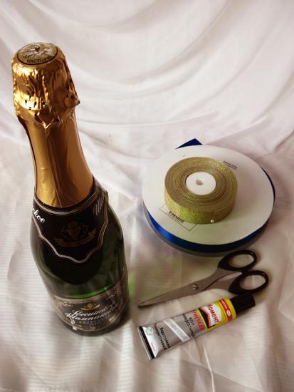 Оформить бутылку шампанского своими руками