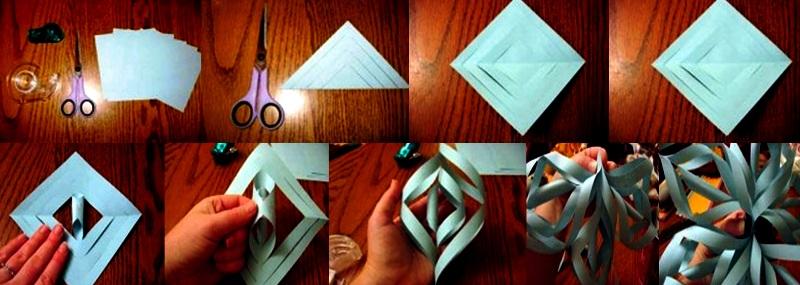 Как сделать красивую объемную снежинку из бумаги