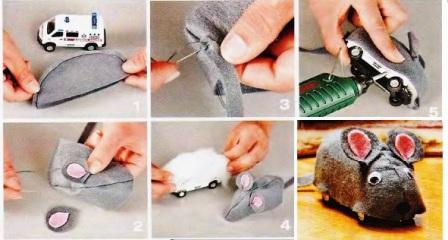 Мышка для кошки своими руками видео