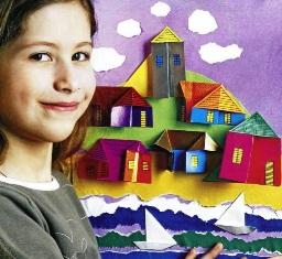 """оригами для детей. Картина """"Городок"""""""