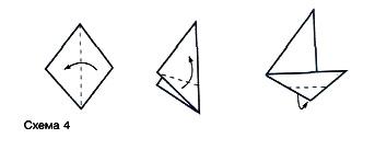 лодка из бумаги схема оригами