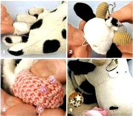 игрушки из перчаток - корова