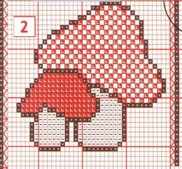 схема вышивки грибы